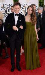 EDDIE REDMAYNE + wife @ the 72nd Gloden Globe awards held @ the Beverly Hilton hotel. January 11, 2015  January 11, 2015