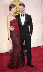 Mandatory Credit: Photo by Jim Smeal/BEImages (2661278bg) Behati Prinsloo and Adam Levine 87th Academy Awards, Oscars, Arrivals, Los Angeles, America - 22 Feb 2015