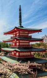 Chureito Pagoda sau Pagoda Roșie cu muntele Fuji în fundal