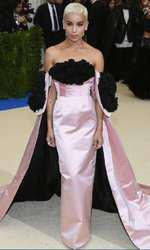 Zoey Kravitz a mizat pe Oscar de la Renta și pe combinația roz-negru.