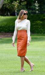 Melania Trump la Casa Albă, înainte de a pleca în trurul prezidențial