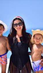 Claudia Pătrășcanu și cei doi băieți