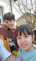 Mihai Bobonete și cei doi copii