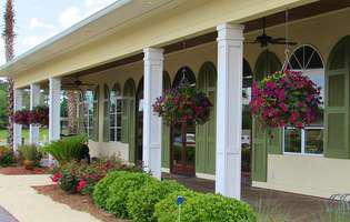 veranda, casa, flori