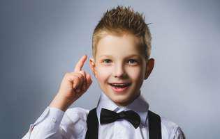 cum să ai un copil descurcăreț - copil îmbrăcat la costum cu papion are o idee genială
