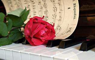 muzica, pian, trandafir, partitura