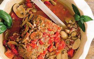 ruladă de carne cu sos de ciuperci