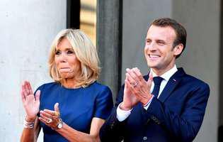 cat castiga Emmanuel Macron si sotia