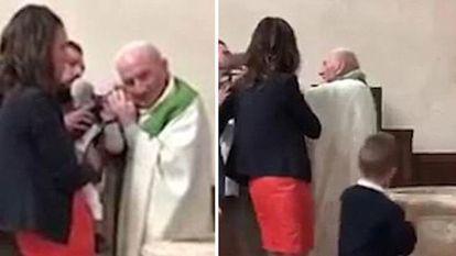 Bebelus, palmuit de proet in timpul botezului, deoare nu se oprea din plans - VIDEO