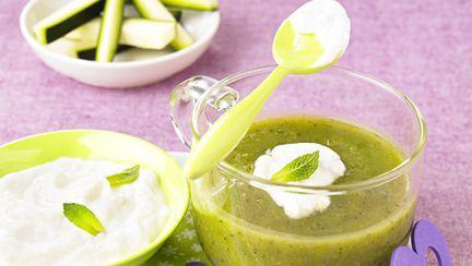 Cappuccino de legume verzi cu mentă (de la 6 luni)