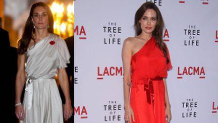Kate şi Angelina Jolie, în rochii identice. Care e mai stilată?
