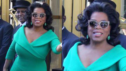 Wow, ce culoare! Oprah, într-o rochie superbă