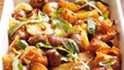 Placinta cu cartofi, rozmarin si carnati