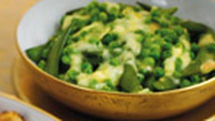 Mazare si fasole verde, cu topping de branza