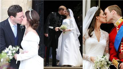 Prințesele Eugenie, Meghan și Kate au fost sărutate diferit în ziua nunții. Vezi diferența?