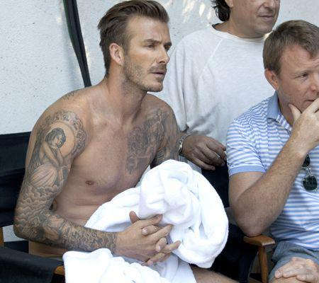 Beckham shoots underwear ad for H&M with Guy Ritchie