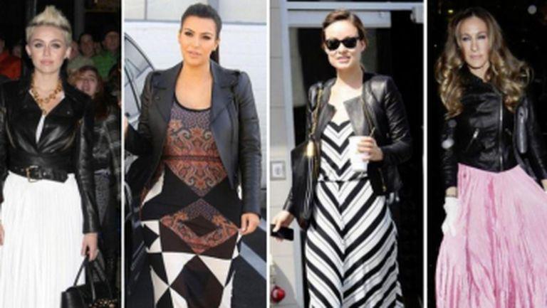 Rochia lungă şi jacheta de piele, combinaţia perfectă a toamnei