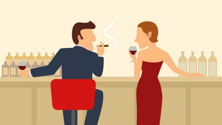 Femeie si barbat in bar