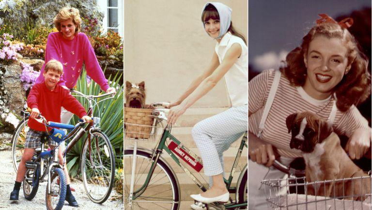 colaj printesa diana, audrey hepburn si marilyn monroe pe bicicleta
