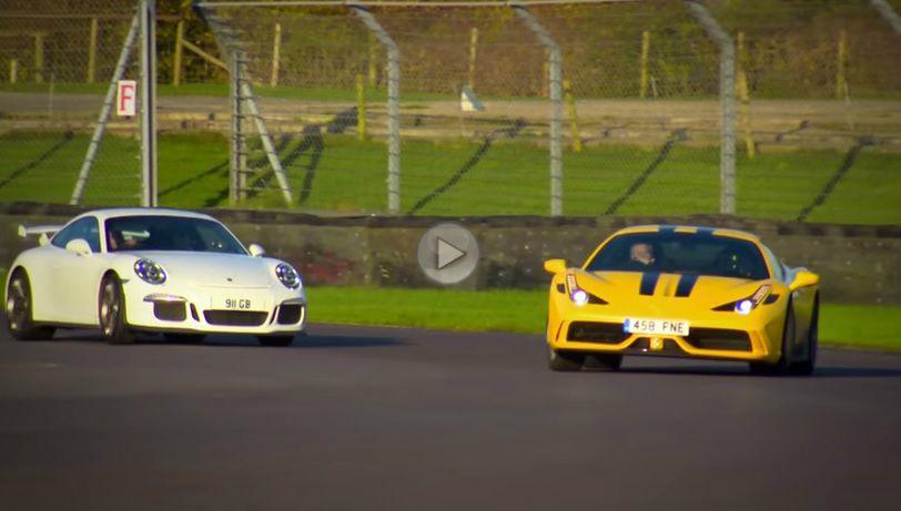 Chris Harris și Tiff Needell încing un Porsche 911 GT3 și un 458 Speciale