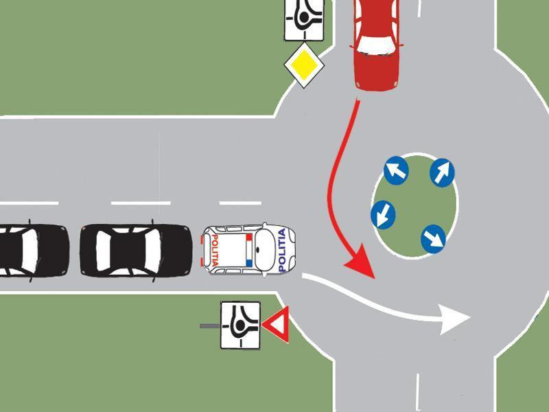 Chestionar auto – Cum procedați dacă vă aflați în autoturismul roșu și observați că de pe drumul fără prioritate se apropie o coloană cu regim prioritar?