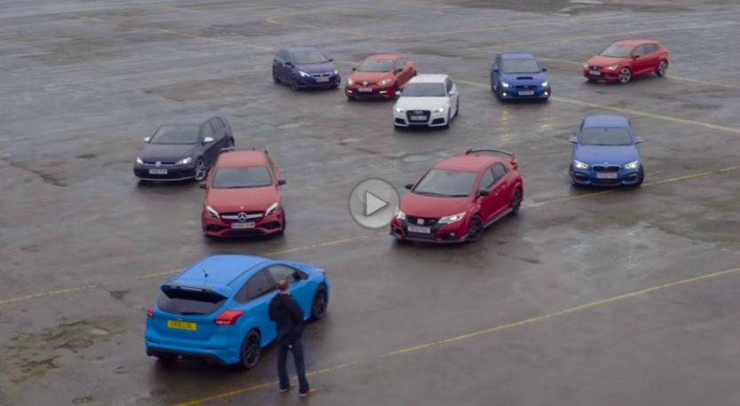 Testul comparativ al anului: Ford Focus RS vs. Honda Civic Type R, Audi RS3, Mercedes-AMG A45, 308 GTI, Megane RS, Golf R…etc