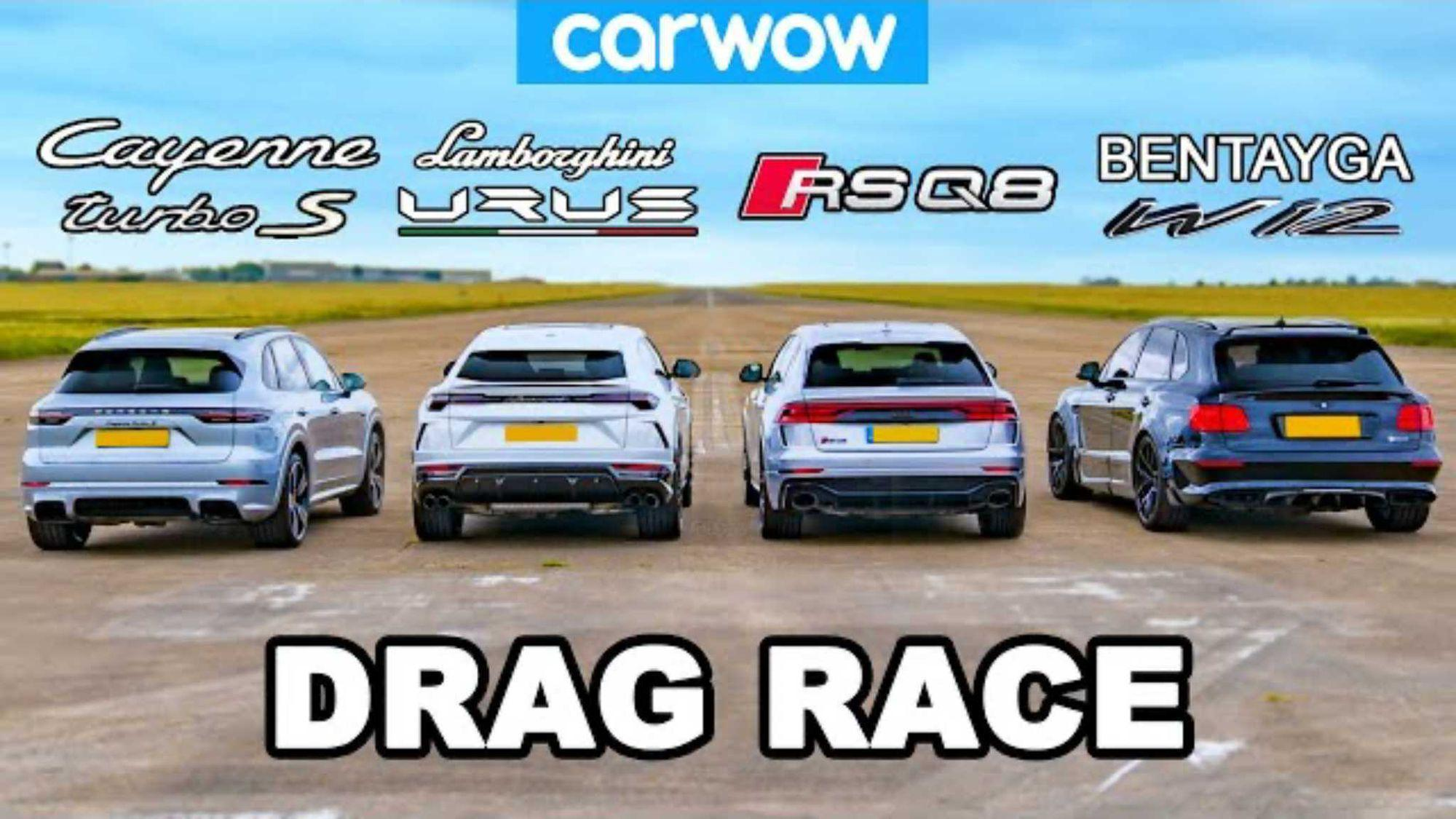 Drag race: Lamborghini Urus vs. Porsche Cayenne vs. Audi RS Q8 vs. Bentley Bentayga