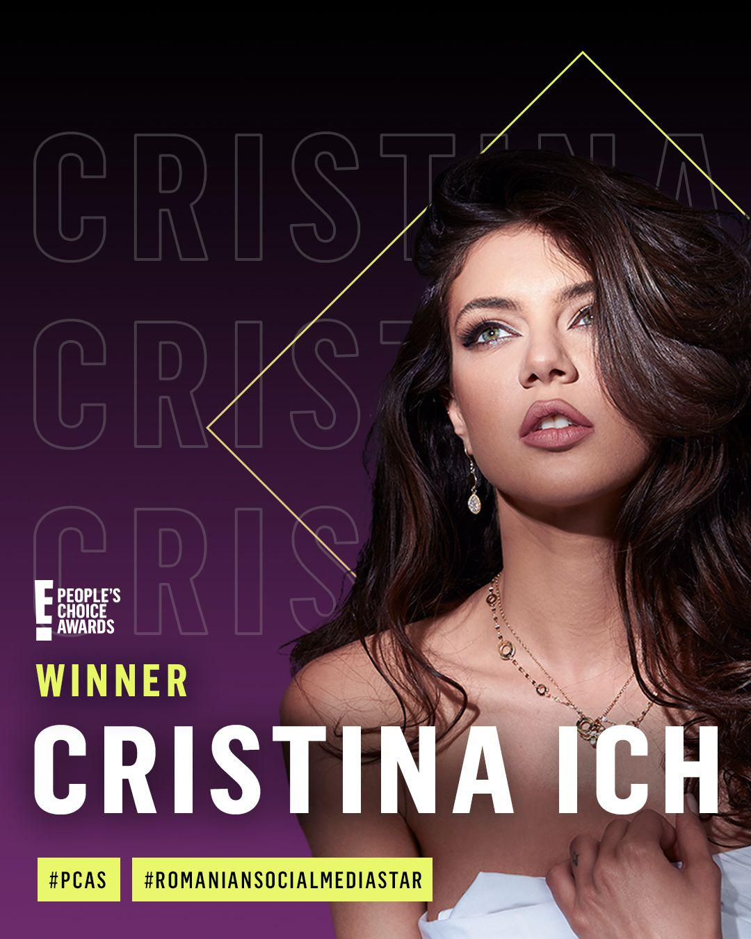 "Cristina Ich a fost votată ""Romanian Social Media Star of 2020"" la E! People's Choice Awards (P)"